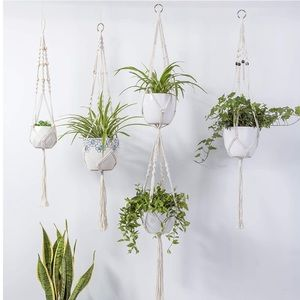 4 Pcs Macrame Hanging Plant Shelf Indoor Wall Art